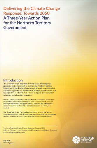 Image of document for 3 year action plan for climate change by the Northern Territory Government